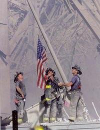 9 11 firemen raising flag