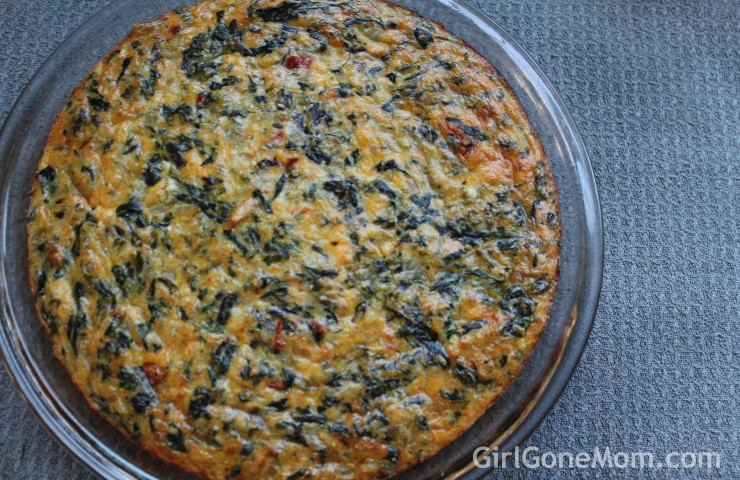 Crustless Spinach, Onion and Sundried Tomato Quiche