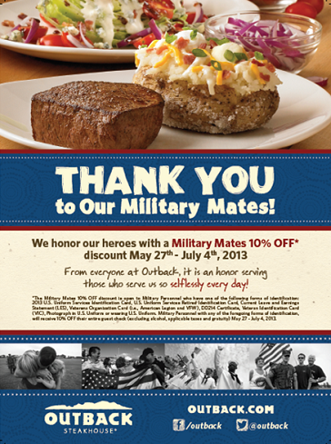 Outback Steakhouse $20.00 gift card giveaway! (plus Military Discount Details)