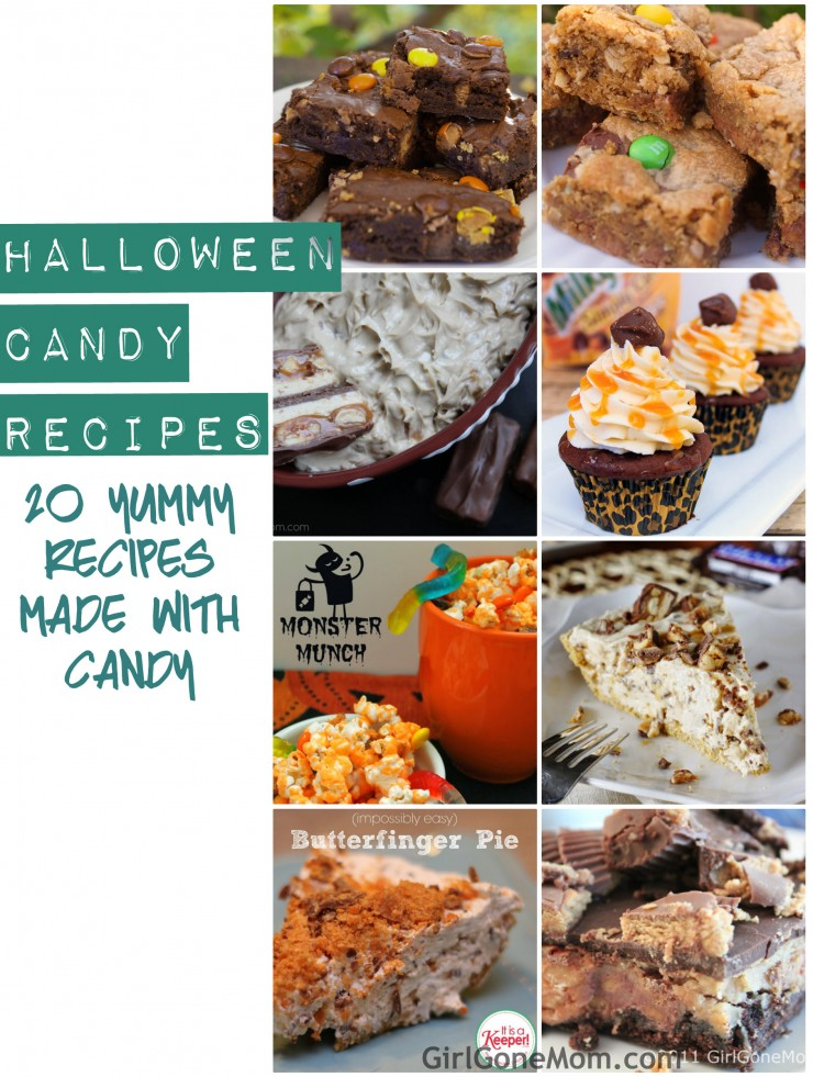 Don't know what to do with all that Halloween candy? Here are 20 Yummy Recipes Made with Candy   GirlGoneMom.com