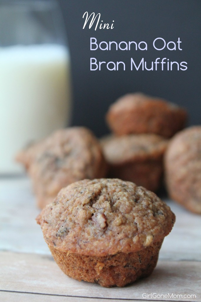 Mini Banana Oat Bran Muffins - a delicious, guilt free snack or breakfast treat.