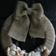 Burlap Seashell Wreath