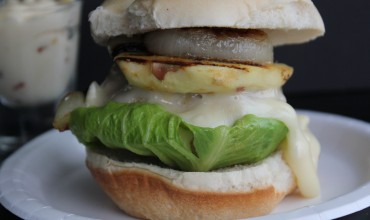 Shady Brook Farms Turkey Burgers with grilled apples, onions and brie.