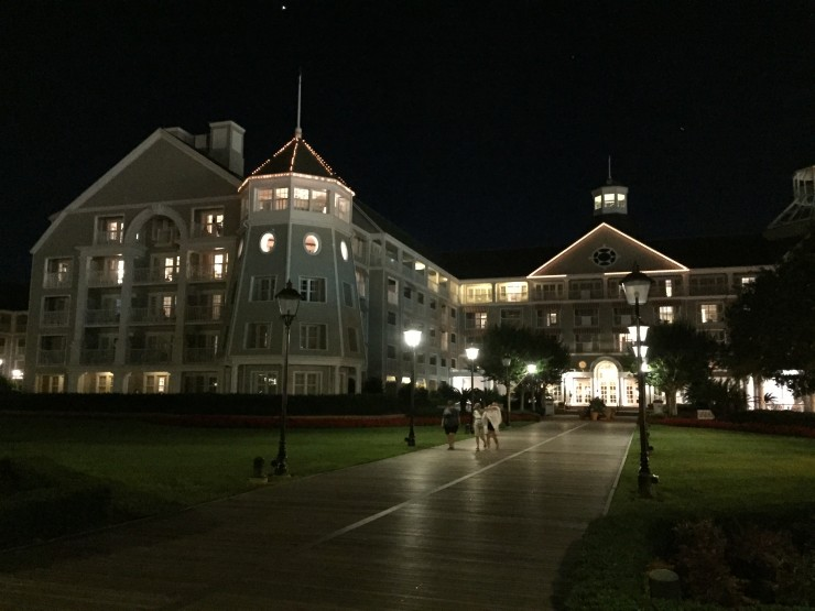 Disney's Yacht Club Resort at night