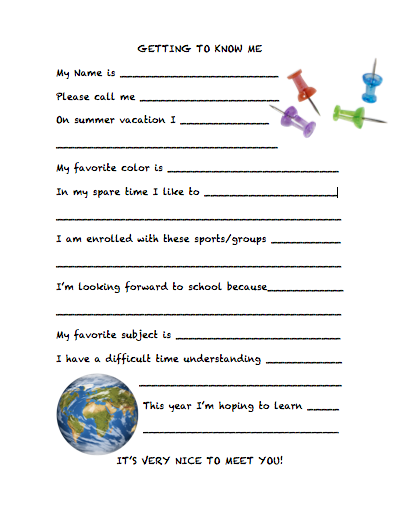 Teacher printable - getting to know student