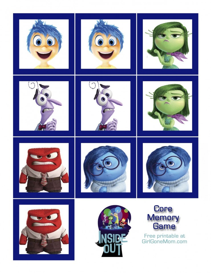 INSIDE OUT Core Memory Game (Free Printable)