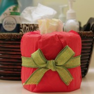 Wrapped toilet paper and other guest essentials for the holidays