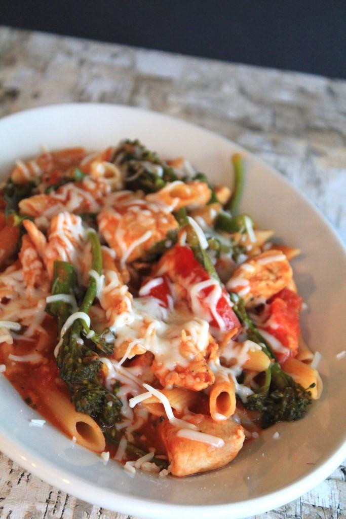 Chicken Parm Pasta with Broccolini (a gluten free pasta recipe)
