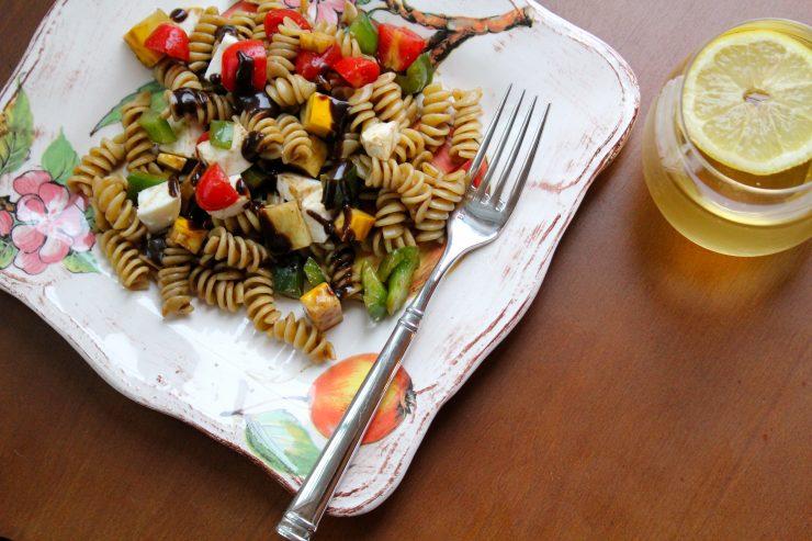 Pasta salad and tea