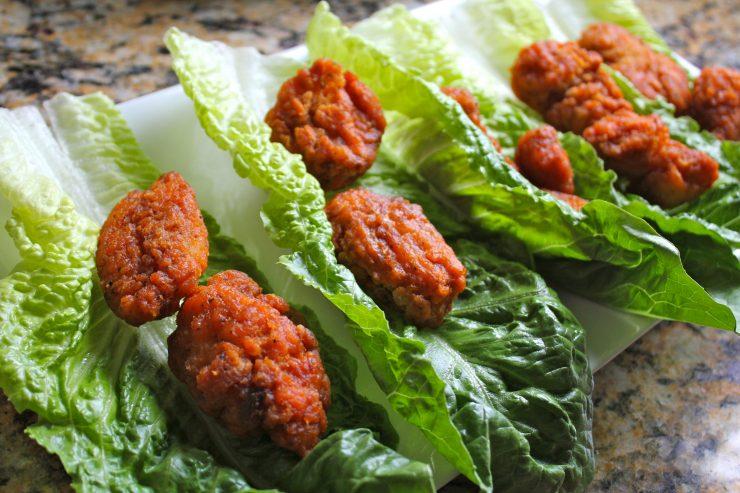 Boneless buffalo wing lettuce wraps