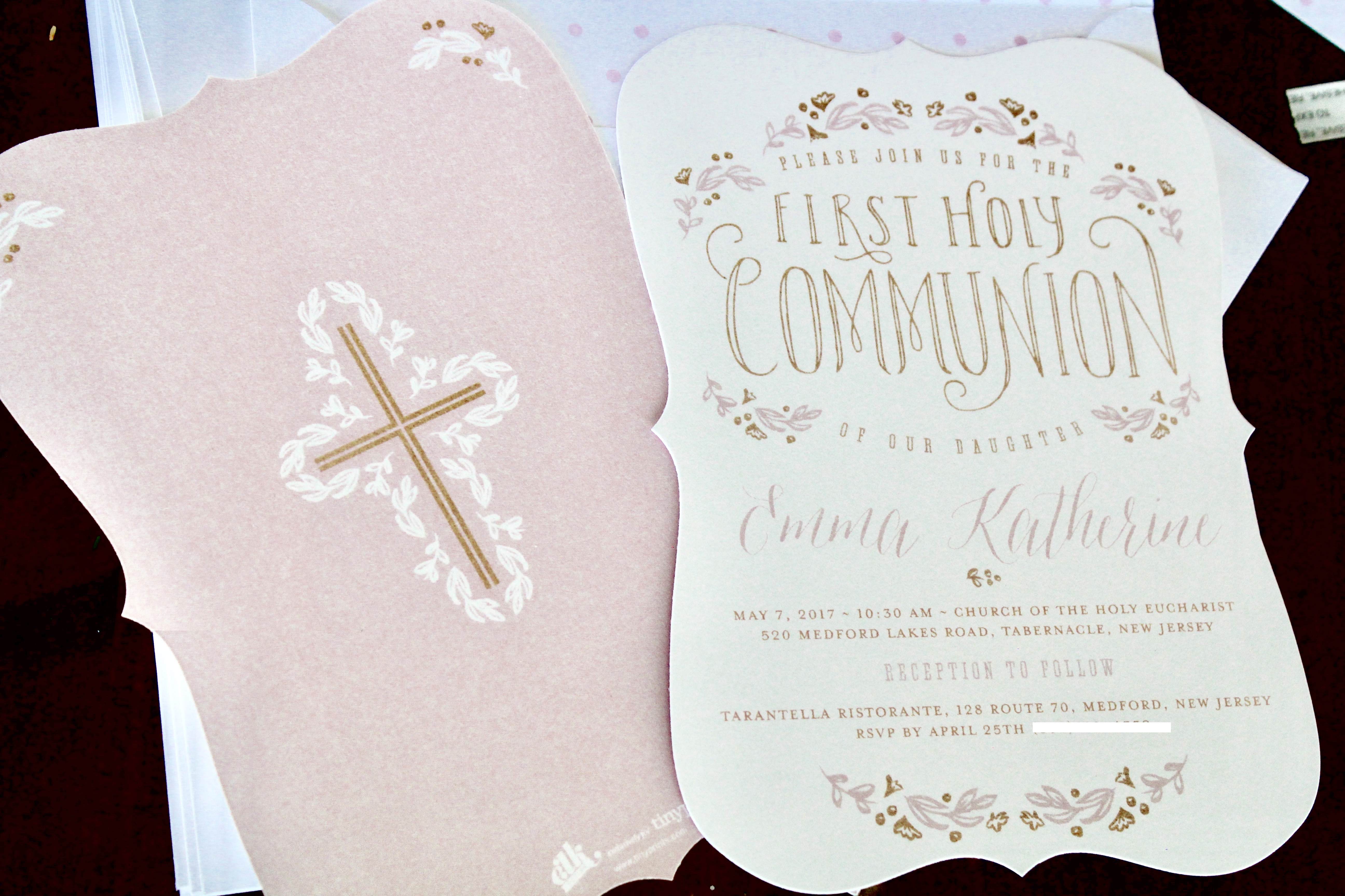 Beautiful First Holy Communion Invitations from Tiny Prints Girl