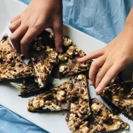 Chocolate Peanut Butter Popcorn Bark